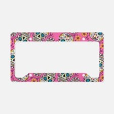 Sugar Skull Halloween Pink License Plate Holder