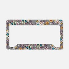 Sugar Skull Halloween Grey License Plate Holder