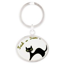 Trick or Treat cat Oval Keychain