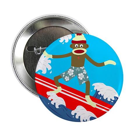 Sock Monkey Longboard Surfer Button