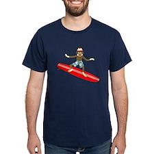 Sock Monkey Longboard Surfer T-Shirt