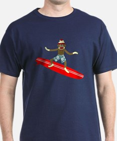 Sock Monkey Longboard Surfer T-Shirt