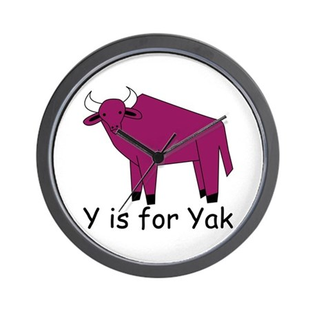 Y is for Yak Wall Clock