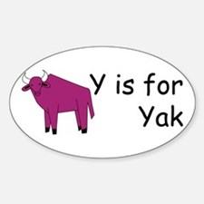 Y is for Yak Oval Decal