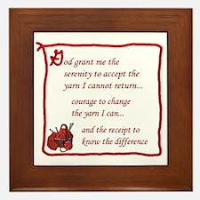 Yarnaholic prayer Framed Tile