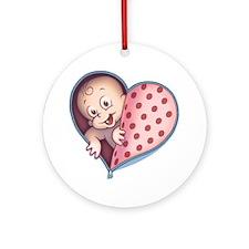 zip-heart-womb-pnkLTT Round Ornament