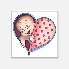 """zip-heart-womb-pnkLTT Square Sticker 3"""" x 3"""""""