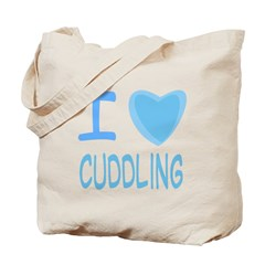 Blue I Heart (Love) Cuddling Tote Bag