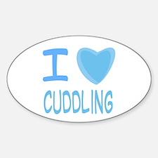 Blue I Heart (Love) Cuddling Oval Decal