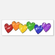 Vintage Gay Pride Hearts Bumper Bumper Bumper Sticker