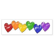 Vintage Gay Pride Hearts Bumper Bumper Sticker