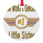 GREENlittlesister.png Round Ornament