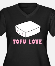 Tofu Love Women's Plus Size V-Neck Dark T-Shirt