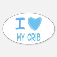 Blue I Heart (Love) My Crib Oval Decal