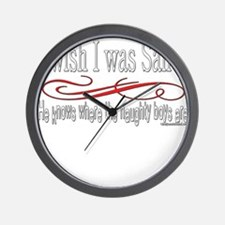 NaughtygirlsSantaBOYStextwhite copy.png Wall Clock