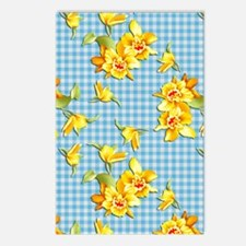Yellow Daffodils on Blue  Postcards (Package of 8)