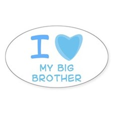 Blue I Heart (Love) My Big Brother Oval Bumper Stickers
