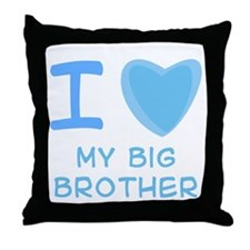 Blue I Heart (Love) My Big Brother Throw Pillow