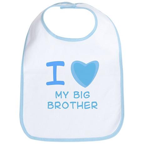 Blue I Heart (Love) My Big Brother Bib