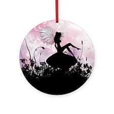 Fairy Silhouette Round Ornament