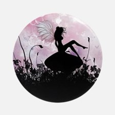 Fairy Silhouette Round Ornament