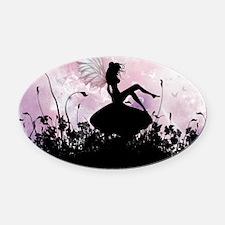 Fairy Silhouette Oval Car Magnet