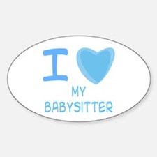 Blue I Heart (Love) My Babysitter Oval Decal