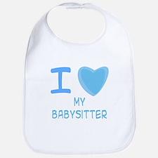 Blue I Heart (Love) My Babysitter Bib