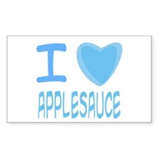 Blue I Heart (Love) Applesauce Sticker (Rectangula