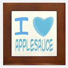 Blue I Heart (Love) Applesauce Framed Tile