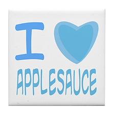 Blue I Heart (Love) Applesauce Tile Coaster