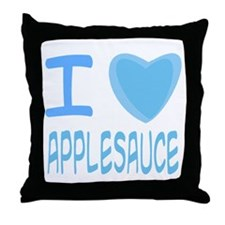 Blue I Heart (Love) Applesauce Throw Pillow