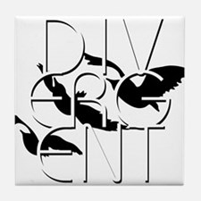 Divergent Black and White Tile Coaster