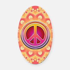 Bohemian Snowflake Peace Symbol Oval Car Magnet