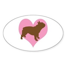french bulldog & heart Oval Decal