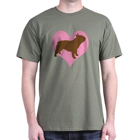 french bulldog & heart Dark T-Shirt
