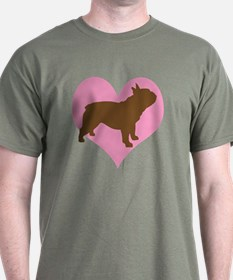 french bulldog & heart T-Shirt