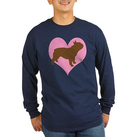 french bulldog & heart Long Sleeve Dark T-Shirt