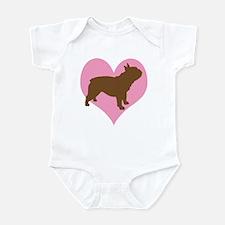 french bulldog & heart Infant Bodysuit