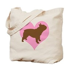 french bulldog & heart Tote Bag