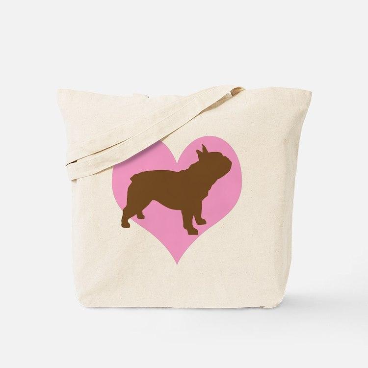 french bulldog & heart Tote Bag