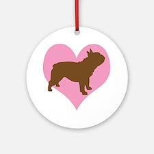 french bulldog & heart Ornament (Round)