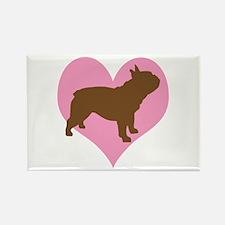 french bulldog & heart Rectangle Magnet