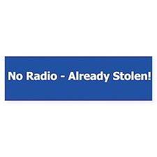 No Radio Bumper Bumper Sticker