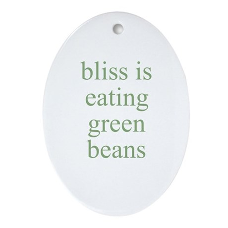 bliss is eating green beans Oval Ornament
