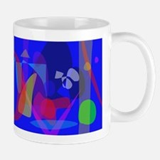 Abstract Painting with Blue Background Mugs
