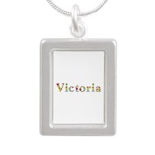 Victoria Bright Flowers Silver Portrait Necklace