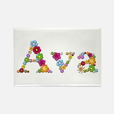 Ava Bright Flowers Rectangle Magnet