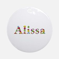 Alissa Bright Flowers Round Ornament