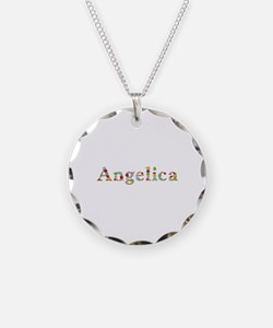 Angelica Bright Flowers Necklace Circle Charm